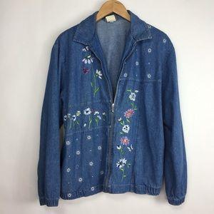 Vintage 80's Teddi Denim Floral Embroidered Jacket